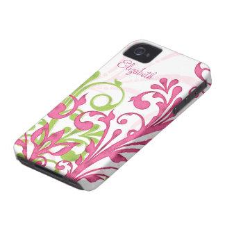 Caja floral abstracta blanca verde rosada del iPho