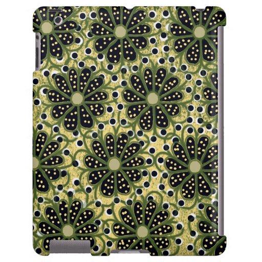 Caja floral abstracta verde del iPad