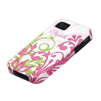 Caja floral abstracta verde rosada del ambiente de iPhone 4 fundas
