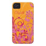 Caja floral anaranjada rosada personalizada del iP iPhone 4 Cobertura