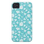 Caja floral azul del iPhone 4/4S del damasco de Cu iPhone 4 Case-Mate Protectores