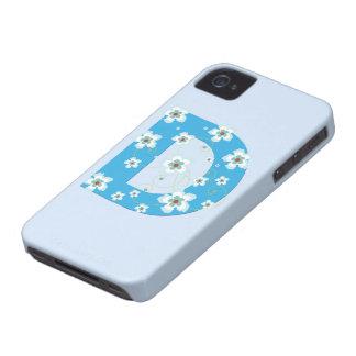Caja floral azul del iphone 4 del hibisco del mono Case-Mate iPhone 4 cobertura