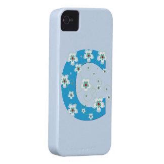 Caja floral azul del iphone 4 del hibisco del mono iPhone 4 Case-Mate cobertura