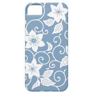 Caja floral azul del iPhone 5/5S de la oscuridad iPhone 5 Carcasas
