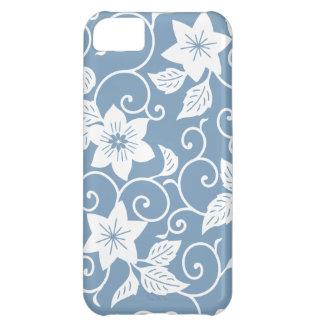 Caja floral azul del iPhone 5 de la oscuridad Funda Para iPhone 5C