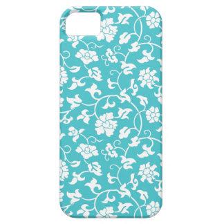 Caja floral azul del iPhone 5 del damasco de Curaç iPhone 5 Cárcasa