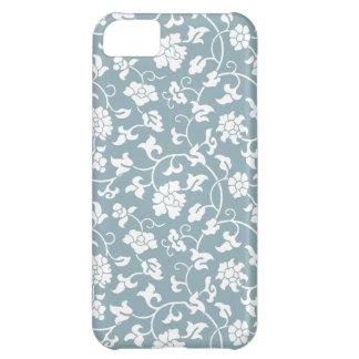 Caja floral azul del iPhone 5 del damasco de la mi