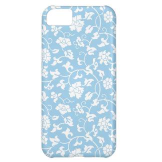 Caja floral azul del iPhone 5 del damasco del Corn
