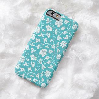 Caja floral azul del iPhone 6 del damasco de Funda De iPhone 6 Barely There