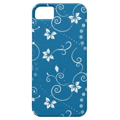 Caja floral azul del iPhone de Swirly del vintage  iPhone 5 Carcasa