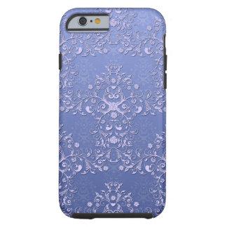 Caja floral azul femenina del iPhone 6 del damasco Funda De iPhone 6 Tough