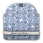 Caja floral azul y blanca de MacBook Fundas Para Macbooks