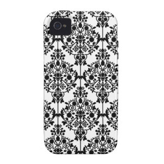 Caja floral blanca negra de la casamata del iPhone iPhone 4/4S Carcasas