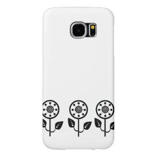 Caja floral blanca negra del diseñador de la funda samsung galaxy s6