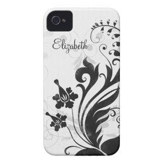 Caja floral blanca negra personalizada del iPhone  iPhone 4 Case-Mate Funda