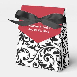 Caja floral blanca negra roja del favor del boda cajas para regalos de boda