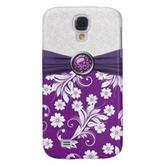 Caja floral blanca púrpura de la mota de los remol funda para galaxy s4