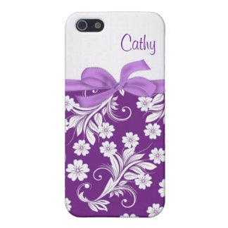 Caja floral blanca púrpura de la mota de los remol iPhone 5 carcasa