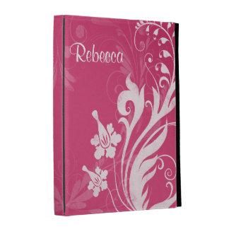 Caja floral blanca rosada personalizada del folio