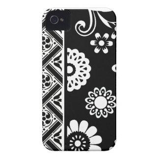 Caja floral blanco y negro de la MOD… Blackberry Case-Mate iPhone 4 Cárcasas
