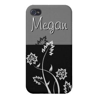 Caja floral blanco y negro de la mota de IPhone 4 iPhone 4 Coberturas