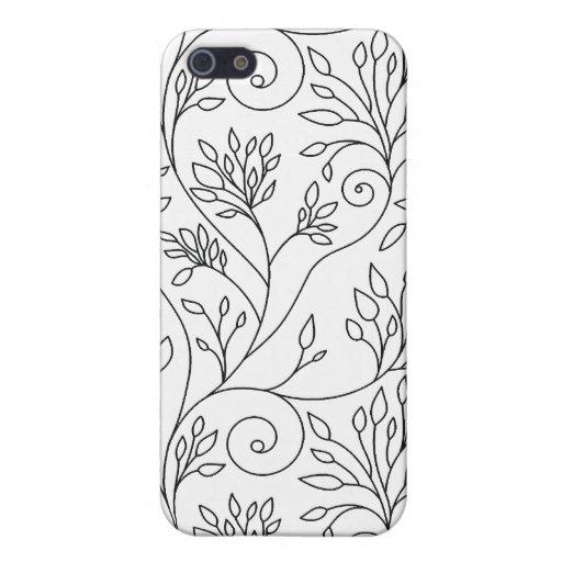 Caja floral blanco y negro del iPhone 4 iPhone 5 Fundas
