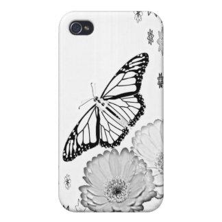 Caja floral blanco y negro del iPhone de la maripo iPhone 4 Funda