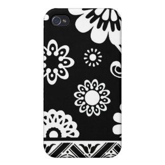 Caja floral blanco y negro del iphone de la MOD… iPhone 4 Cárcasa