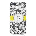 Caja floral blanco y negro del iPhone del monogram iPhone 5 Protector