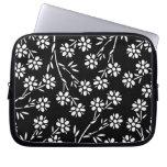 Caja floral blanco y negro del ordenador portátil manga portátil
