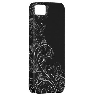 Caja floral caprichosa negra y blanca del iPhone 5 iPhone 5 Funda