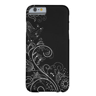 Caja floral caprichosa negra y blanca del iPhone 6 Funda Para iPhone 6 Barely There