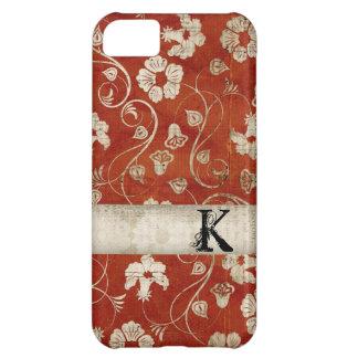 Caja floral carmesí del iPhone del monograma del d Funda Para iPhone 5C