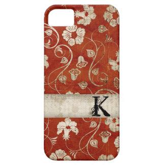 Caja floral carmesí del iPhone del monograma del iPhone 5 Funda