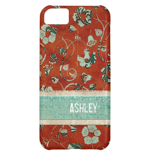 Caja floral carmesí y azul del iPhone del damasco Funda Para iPhone 5C