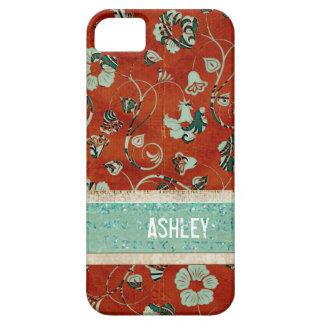 Caja floral carmesí y azul del iPhone del damasco iPhone 5 Funda