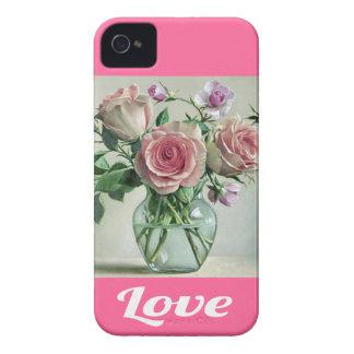 Caja floral color de rosa rosada elegante lamentab iPhone 4 cárcasa
