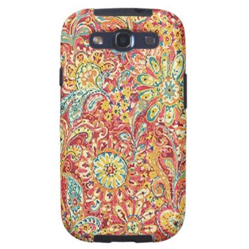 Caja floral colorida de la galaxia de Samsung Carcasa Para Galaxy S3