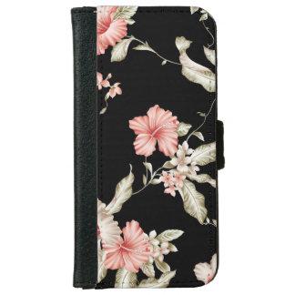 Caja floral de la cartera del hibisco del vintage funda cartera para iPhone 6