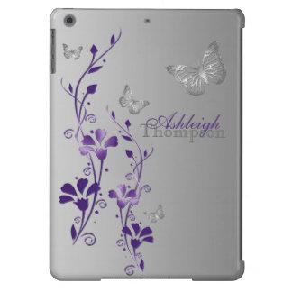Caja floral del aire del iPad de la mariposa púrpu Funda Para iPad Air