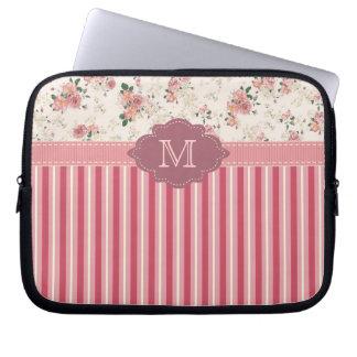 Caja floral del monograma del rosa color de rosa d mangas computadora