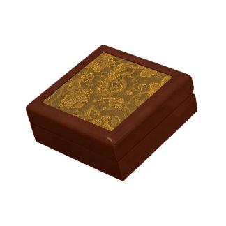 Caja floral del recuerdo del oro amarillo del vint cajas de recuerdo