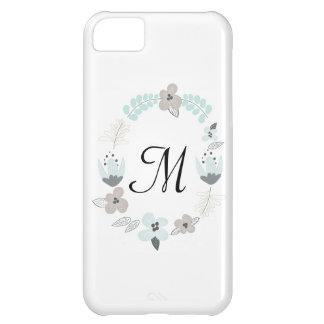 Caja floral del teléfono del monograma I del vinta Funda Para iPhone 5C