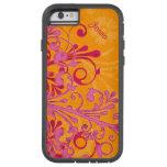 Caja floral elegante anaranjada del iPhone 6 de Funda De iPhone 6 Tough Xtreme