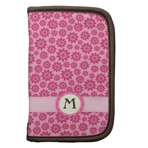 Caja floral femenina rosada linda del folio del mo planificadores