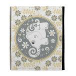 Caja floral gris amarilla del iPad del elefante bl
