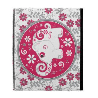 Caja floral gris roja del iPad del elefante blanco