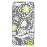Caja floral gris y blanca moderna del iPhone del e