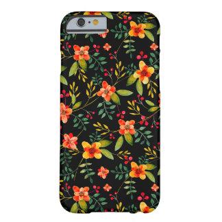 Caja floral negra amarilla elegante del iPhone 6 Funda Para iPhone 6 Barely There