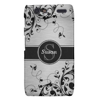 Caja floral negra de plata de los remolinos RAZR Motorola Droid RAZR Funda